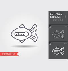 water thermometer in shape fish line icon vector image