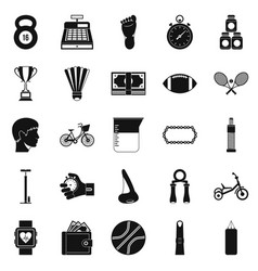 Weight for the gym icons set simple style vector