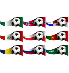with soccer ball and flag of nigeria norway vector image