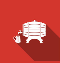 Wooden barrel on rack and wooden beer mug icon vector