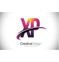 Xp x p purple letter logo with swoosh design vector
