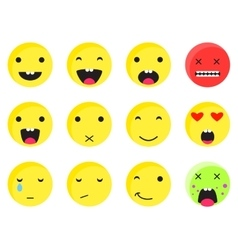 Yellow round smile emoji set emoticon icon flat vector