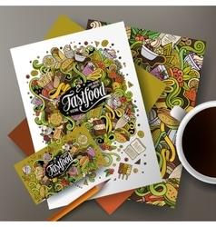 Cartoon cute doodles Fastfood corporate vector image vector image