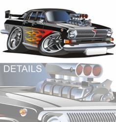 cartoon retro muscle car vector image