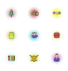 Company icons set pop-art style vector