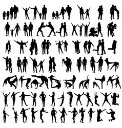 Happy Family Silhouettes vector image
