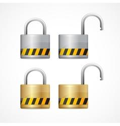 locked and unlocked padlock set vector image vector image