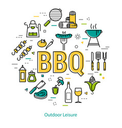 bbq - round linear concept vector image vector image