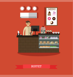 buffet concept in flat style vector image vector image