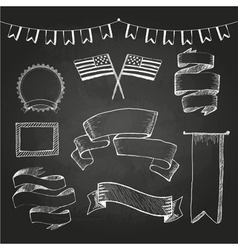 Chalkboard labels ribbons and stickers vector image