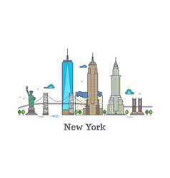 new york line symbol nyc silhouette vector image