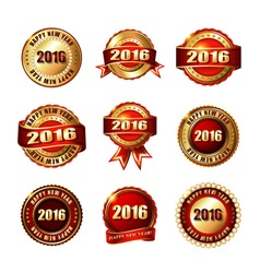 Set of Happy New Year 2015 Golden Label with vector image
