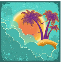 Vintage tropical island background vector image vector image