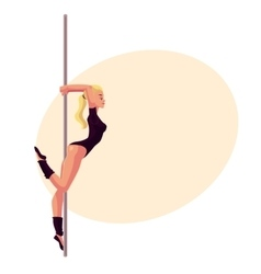 Young woman in black leotard standing at the pole vector image