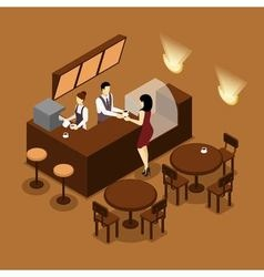 Barista Serving Customer Isometric Brown Poster vector image