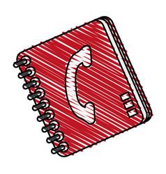 Color crayon stripe cartoon phone book with vector