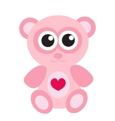 Cute pink teddy bear icon flat design Isolated vector image vector image