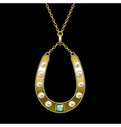 golden horseshoe vector image