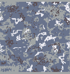 seamless gray camouflage of pixel pattern vector image