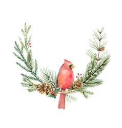 Watercolor christmas wreath with bird vector