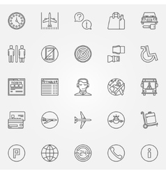 Airport linear icons vector image
