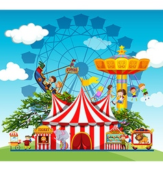 Children and people at the amusement park vector image vector image
