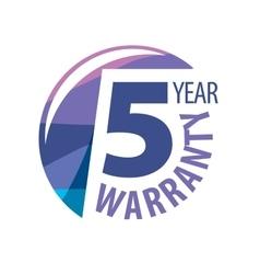 logo 5 years warranty vector image vector image