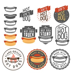 Set of vintage hot dog labels and design elements vector image vector image