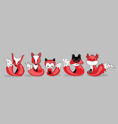 set of wild red animals vector image vector image