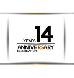 14 years anniversary black color simple design vector