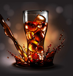 A glass of ice in a cola spray high detailed vector