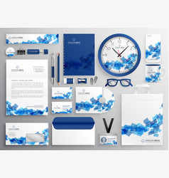 abstract blue business collateral set design vector image