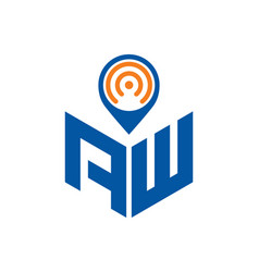 Abstract polygonal aw logo aw letter logo vector