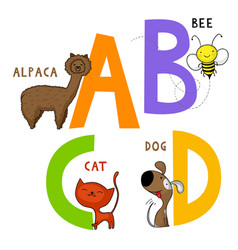 Animal alphabet a b c and d vector