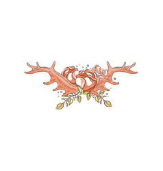 antlers with roses and plants hand drawn floral vector image