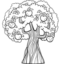 apple tree cartoon for coloring book vector image