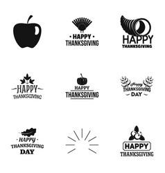autumn thanksgiving logo set simple style vector image