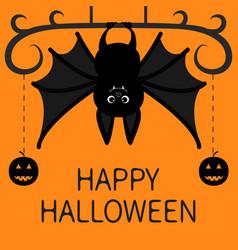 Bat hanging dash line pumpkin smile face happy vector