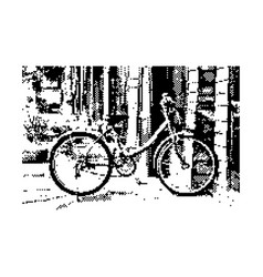 black 8-bit retro bicycle with background vector image