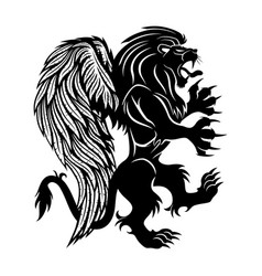 Black lion with wings vector