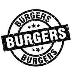 Burgers round grunge black stamp vector
