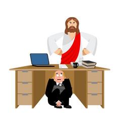 Businessman scared under table of jesus christ vector