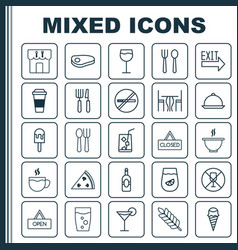 Cafe icons set collection of board doorway vector