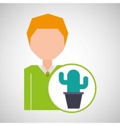 Cartoon business man cactus office icon vector