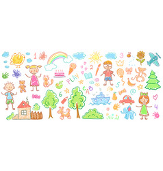 child drawings kids doodle paintings children vector image