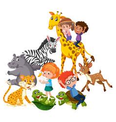 children play with wild animals vector image
