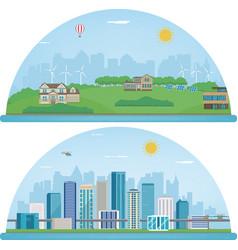 city landscape and suburban landscape building vector image
