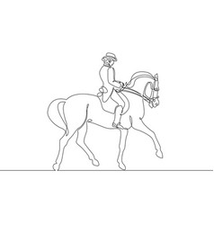 Continuous one line drawing rider on horseback vector