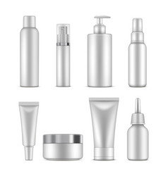 cosmetic bottles beauty container white template vector image