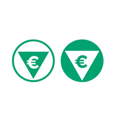 Cost price euro decrease and grow icon vector
